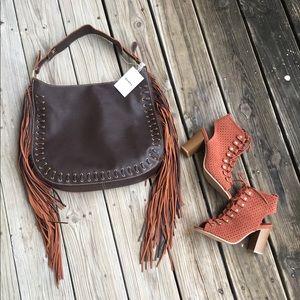 NWT Boho Fringe Handbag